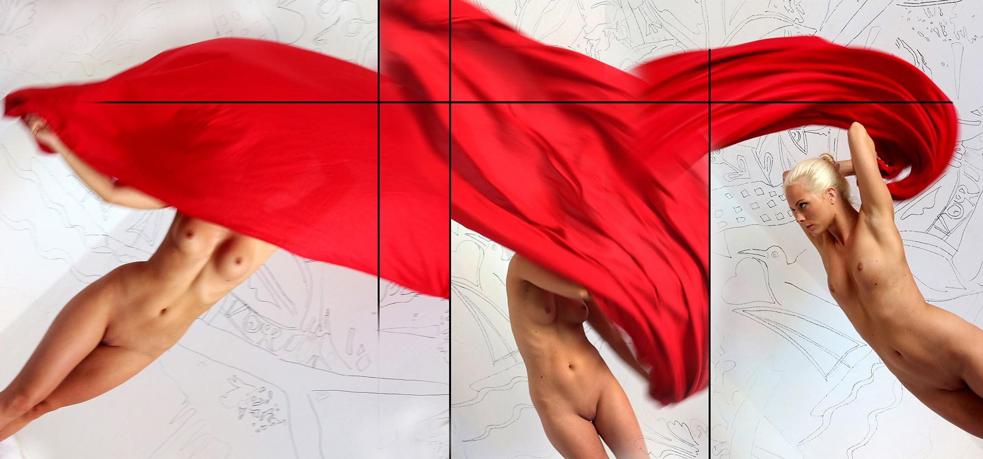 Eifert János. Zsófi vörös drapériával / Nude with Red Drapery