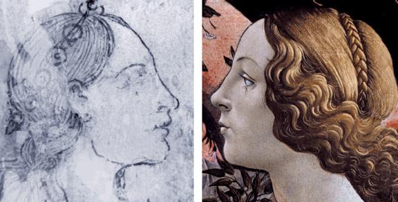 16. Botticelli Esztergom Erősség allegória és a Hora arca a Vénusz születés-ből és